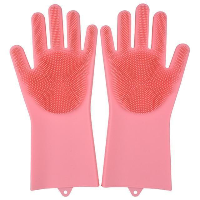 Bestsellrz® Dish Washing Gloves Silicon Scrubbing Sponge - Scruves™  Household Gloves Pink Scruves™