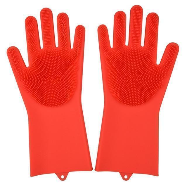 Bestsellrz® Dish Washing Gloves Silicon Scrubbing Sponge - Scruves™  Household Gloves Red Scruves™