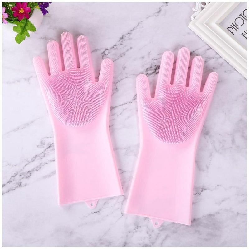 Bestsellrz® Dish Washing Gloves Silicon Scrubbing Sponge - Scruves™  Household Gloves Scruves™