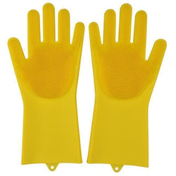 Bestsellrz® Dish Washing Gloves Silicon Scrubbing Sponge - Scruves™  Household Gloves Yellow Scruves™