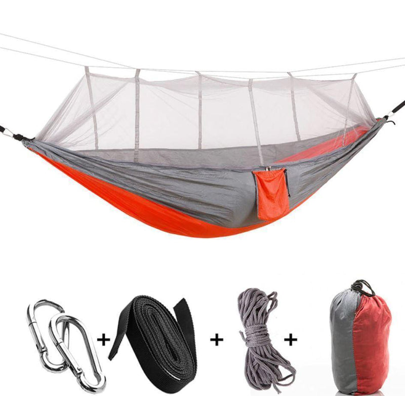 Bestsellrz® Double Camping Hammock With Mosquito Net - The Guardian™  Hammocks Orange gray The Guardian™ Hammock