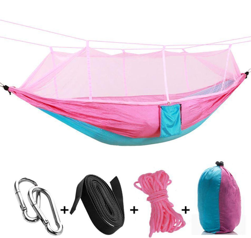 Bestsellrz® Double Camping Hammock With Mosquito Net - The Guardian™  Hammocks pink blue The Guardian™ Hammock