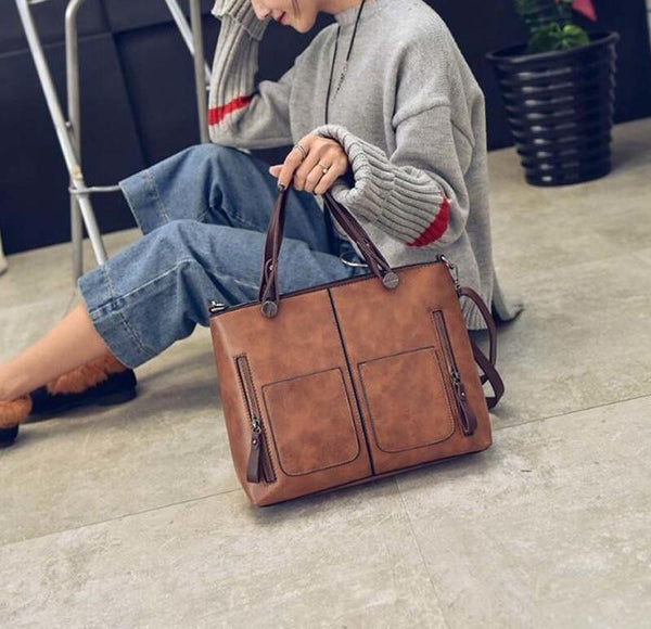 Bestsellrz® Faux Leather Tote Bag Vintage Handbag For Women - Totec™ Shoulder Bags Camel Brown Totec™ Bag