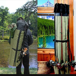 Bestsellrz® Fishing Rod Bag Case Tackle Backpack Waterproof - Fishing Rod Bag Fishing Bags Khaki Green Fishing Rod Bag