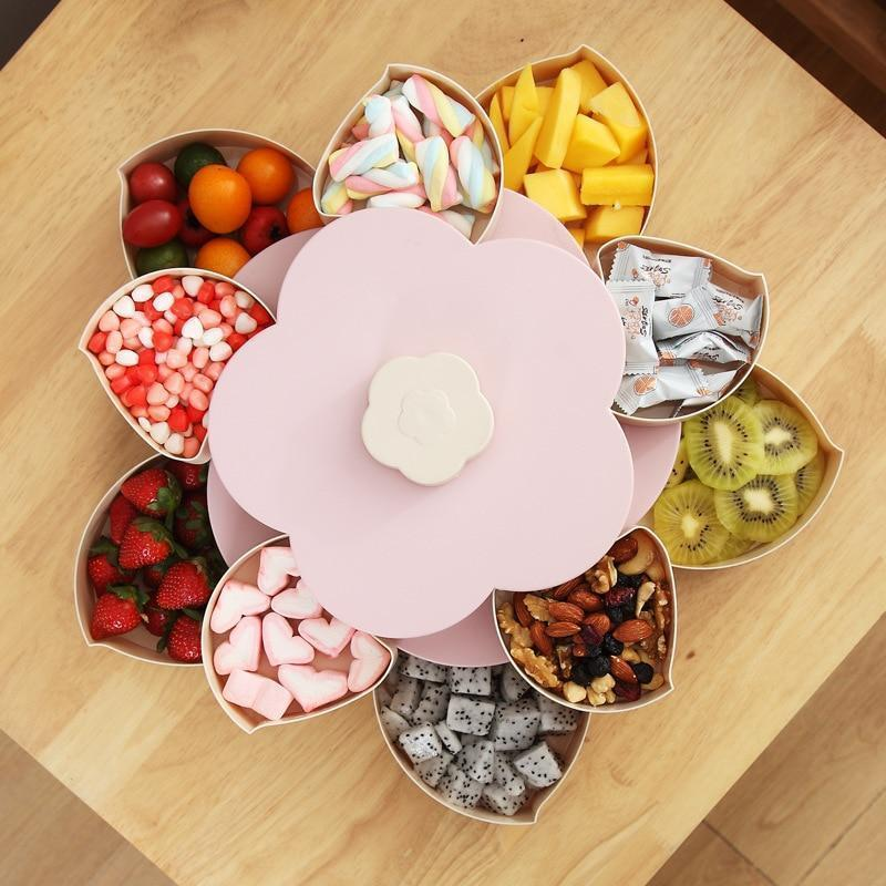 Bestsellrz® Flower Petal Shaped Candy Rotating Box Embellishment Storage- Bloomzo™ Storage Boxes & Bins Pink Double Layered Bloomzo™