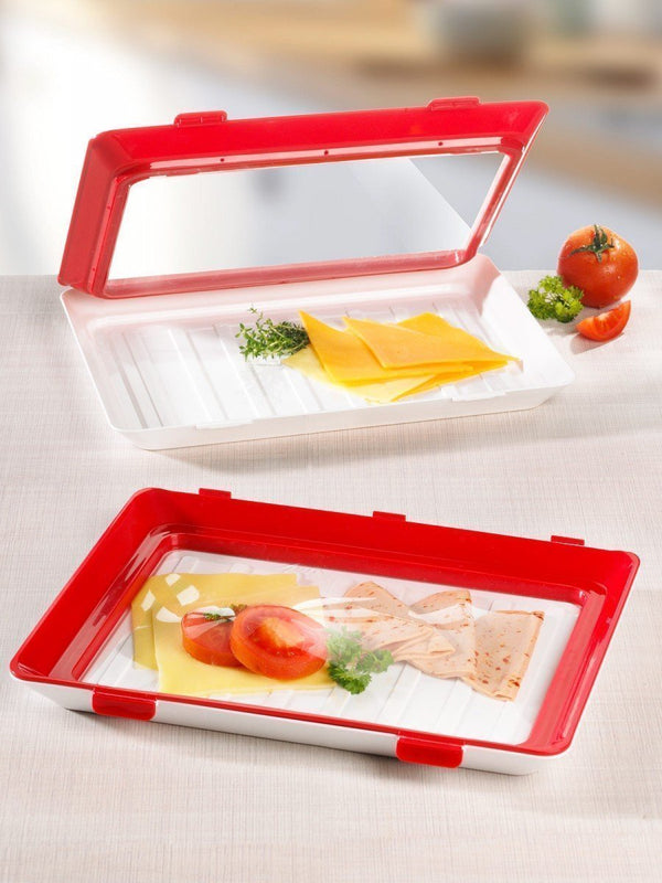 Bestsellrz® Food Preservation Tray Stackable Serving Storage with Lids - Feedible™ Storage Trays 4 Pieces Feedible™
