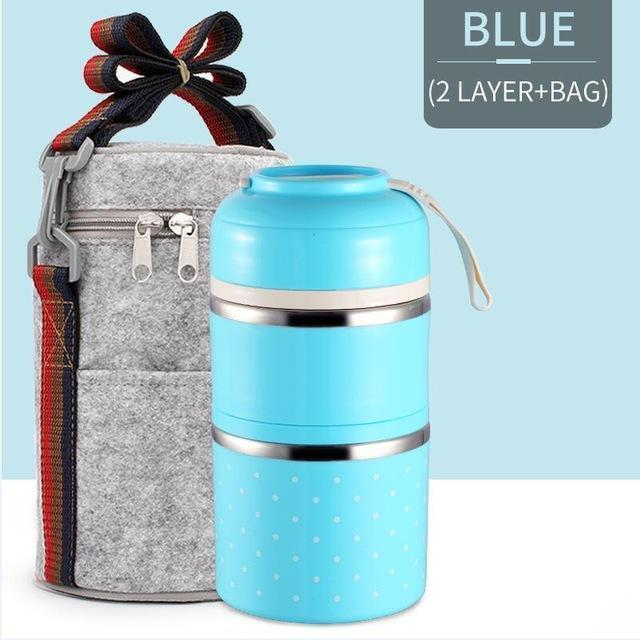 Bestsellrz® Hot Lunch Box For Office Thermal Insulated Container - Isshot™ Lunch Boxes Blue 2 Layer Set Isshot™
