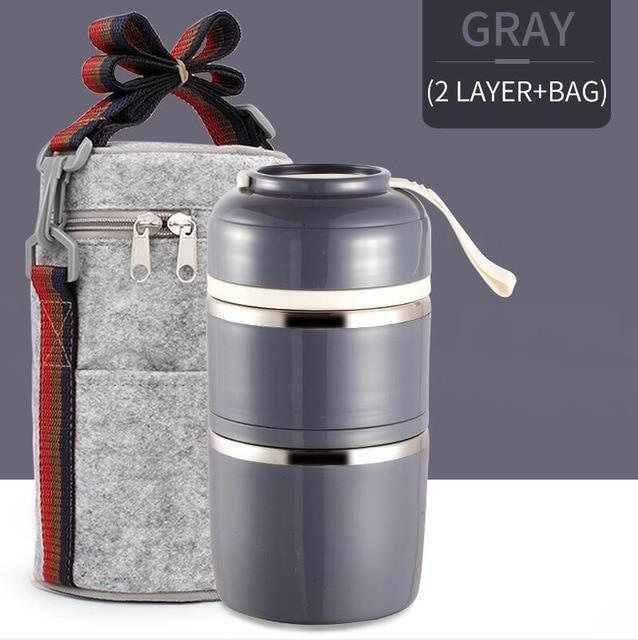 Bestsellrz® Hot Lunch Box For Office Thermal Insulated Container - Isshot™ Lunch Boxes Gray 2 Layer Set Isshot™