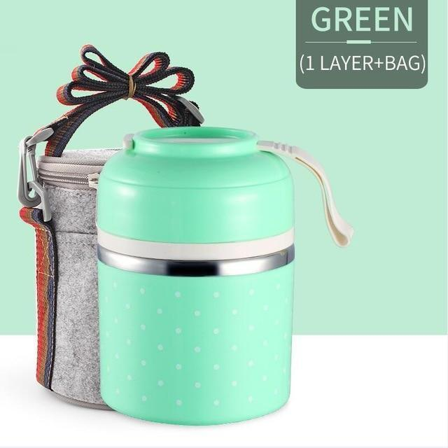 Bestsellrz® Hot Lunch Box For Office Thermal Insulated Container - Isshot™ Lunch Boxes Green 1 Layer Set Isshot™