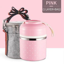 Bestsellrz® Hot Lunch Box For Office Thermal Insulated Container - Isshot™ Lunch Boxes Pink 1 Layer Set Isshot™