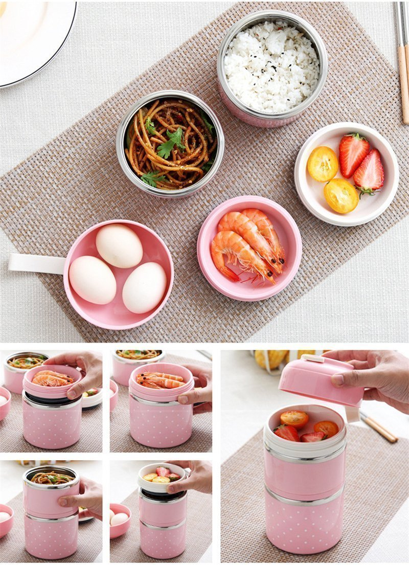 Bestsellrz® Hot Lunch Box For Office Thermal Insulated Container - Isshot™ Lunch Boxes Pink 2 Layer Set Isshot™