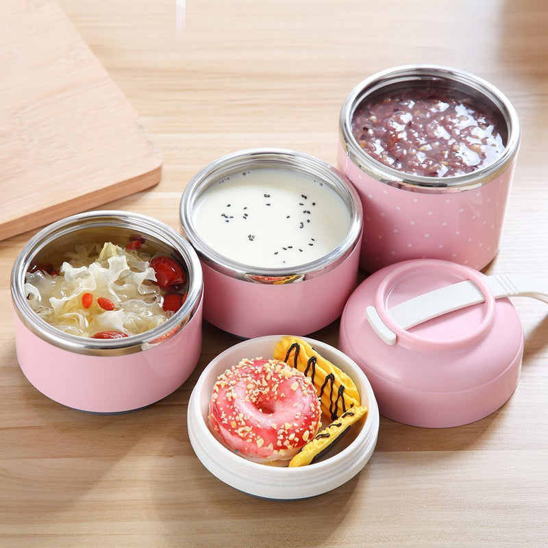 Bestsellrz® Hot Lunch Box For Office Thermal Insulated Container - Isshot™ Lunch Boxes Pink 3 Layer Set Isshot™