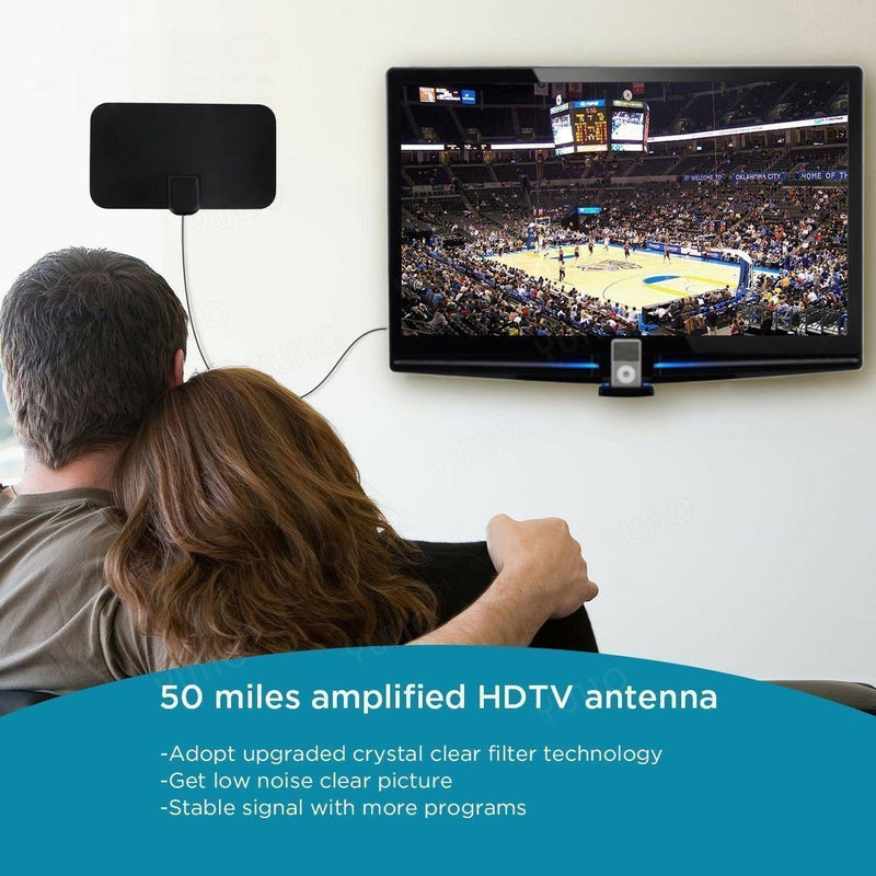 Bestsellrz® Indoor Digital TV HD Antenna That Picks Up Cable Channels TV Antenna Black Cinetixo™