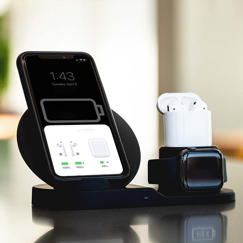Bestsellrz® Iphone Wireless Charger Qi Mobile Charger Pad Stand - Voltros™ Wireless 3 in 1 Charging Dock Black EU plug Voltros™