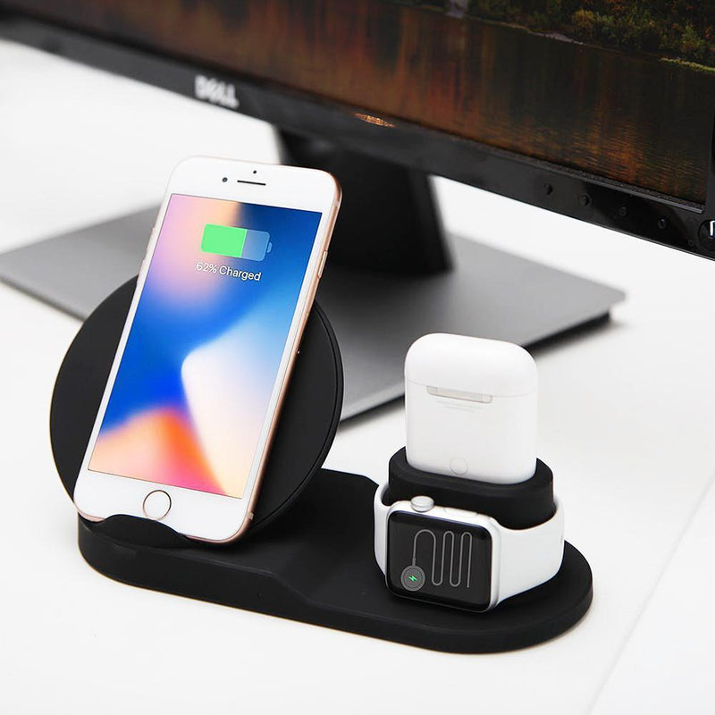 Bestsellrz® Iphone Wireless Charger Qi Mobile Charger Pad Stand - Voltros™ Wireless 3 in 1 Charging Dock Voltros™