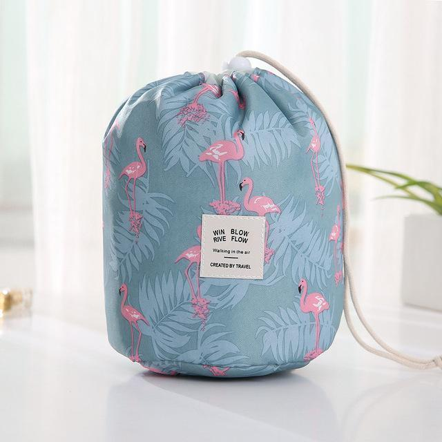 Bestsellrz® Makeup Bag Best Travel Toiletry Cosmetic Organizer Drawstring Foldable Cosmetic Bags & Cases Blue Flamingo Glampack™ 2.0