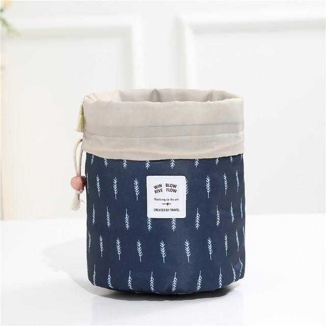 Bestsellrz® Makeup Bag Best Travel Toiletry Cosmetic Organizer Drawstring Foldable Cosmetic Bags & Cases Navy feather Glampack™ 2.0