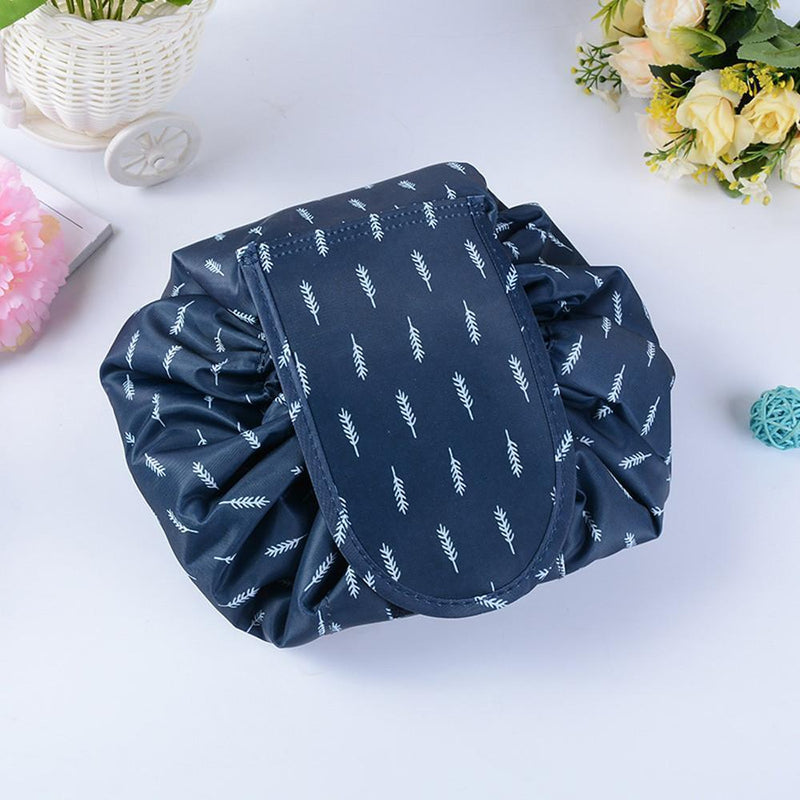 Bestsellrz® Makeup Travel Bag Cosmetic Lazy Drawstring Cute Toiletry Pouch Fashion Cosmetic Bags Blue Feather Glampack™