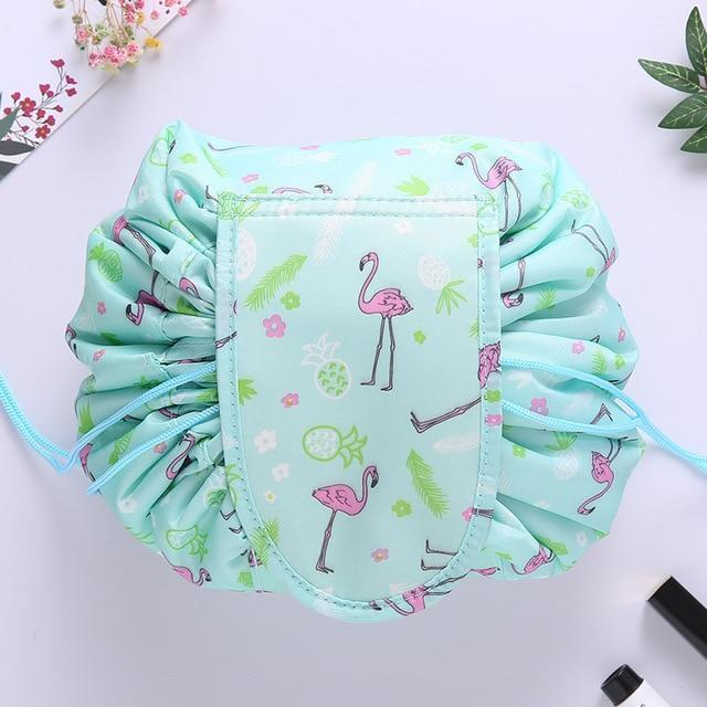 Bestsellrz® Makeup Travel Bag Cosmetic Lazy Drawstring Cute Toiletry Pouch Fashion Cosmetic Bags Green Flamingo Glampack™