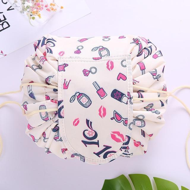 Bestsellrz® Makeup Travel Bag Cosmetic Lazy Drawstring Cute Toiletry Pouch Fashion Cosmetic Bags Kiss of Love Glampack™
