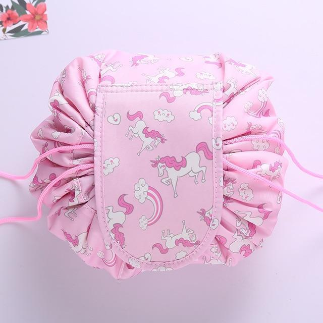 Bestsellrz® Makeup Travel Bag Cosmetic Lazy Drawstring Cute Toiletry Pouch Fashion Cosmetic Bags Pink Unicorn Glampack™