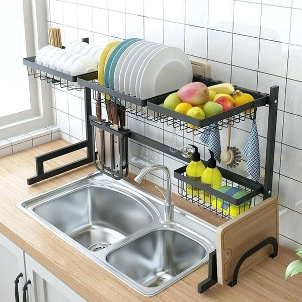 Bestsellrz® Over the Sink Kitchen Storage Racks Stainless Steel Shelves- Primrack™ Kitchen Shelf Black Stainless Steel 85CM Primrack™