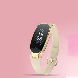 Bestsellrz® Pedometer Smartwatch for Girls Fitness Watches for Women - Athena™ Smartwatch for Women Cream Gold Athena™