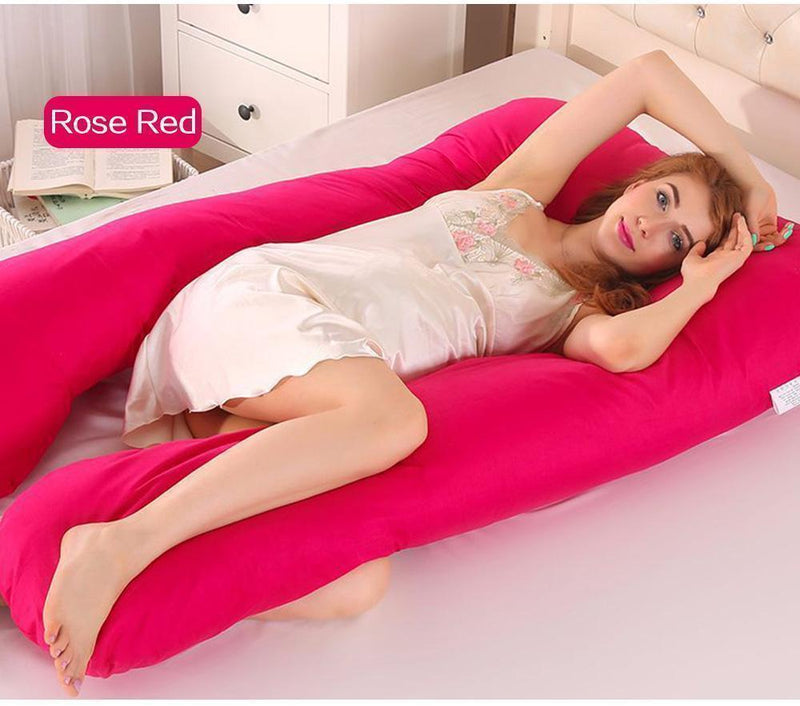 Bestsellrz® Pregnancy Body Pillow U Shaped Maternity Comfortable Support Pillows Pregnancy Pillows Rose Red Cuddlevi™ - Maternity Pillow