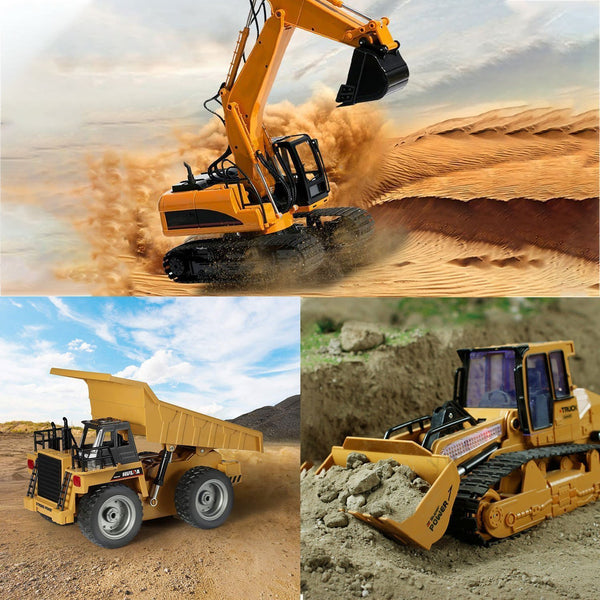 Bestsellrz® RC Construction Vehicles Bulldozer Dump Truck Excavator Toys RC Cars Set of 3 Construction Vehicle Toys