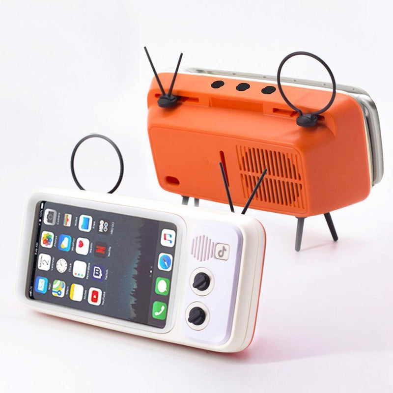 Bestsellrz® Retro Speaker Phone Holder Portable Bluetooth TV Dock- Phonitix™ Home White and Orange Phonitix™