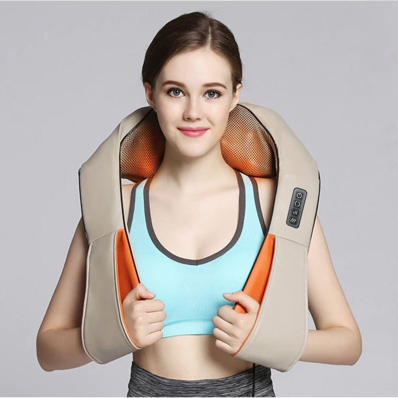Bestsellrz® Shiatsu Back Neck Shoulder Cervical Massager with Heat - Relaxza™ Massage & Relaxation Beige / US Plug Relaxza™