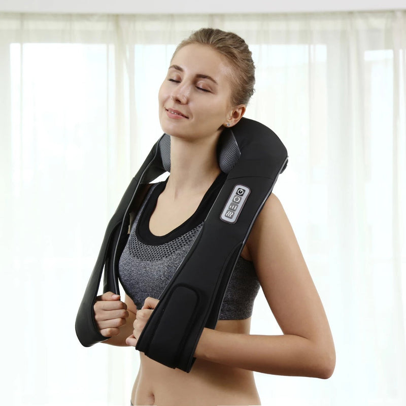 Bestsellrz® Shiatsu Back Neck Shoulder Cervical Massager with Heat - Relaxza™ Massage & Relaxation Black / EU Plug Relaxza™