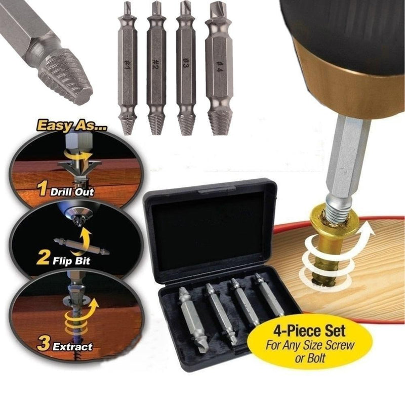 Bestsellrz® Stripped Screw Bolt Extractor Set Broken Damaged Screw Remover Kit Drill Bits Zytriss™