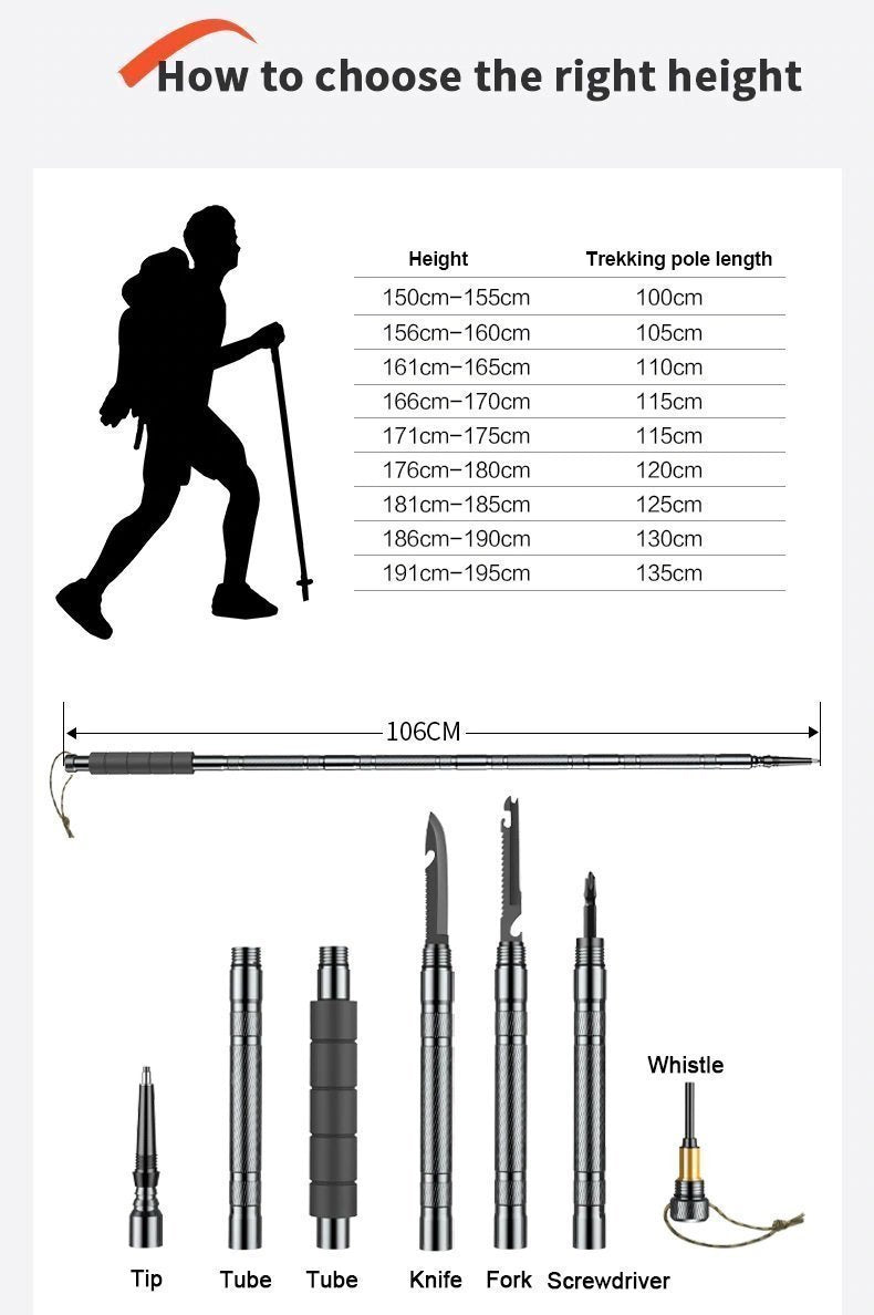 Bestsellrz® Survival Tactical Stick Walking Staff for Self Defense Trekking Pole - Exostik™ Tactical Stick Exostik™