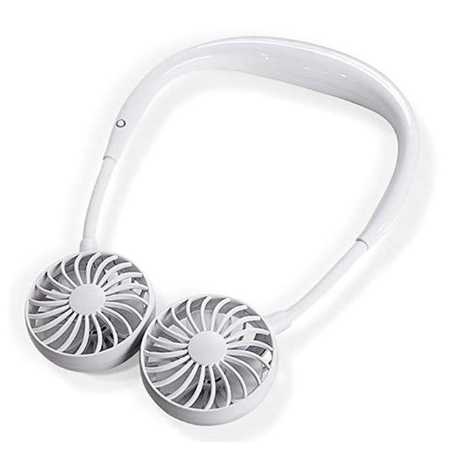Bestsellrz® USB Neck Mini Fan Personal Rechargeable Portable Small For Travel Kids Fans White Swirlzy™