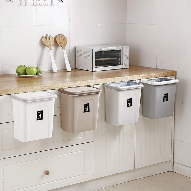 Bestsellrz® Wall Mount Kitchen Dustbin Garbage Can Cabinet - Push-Top Trash Can Waste Bins Ash Grey Push-Top Trash Can
