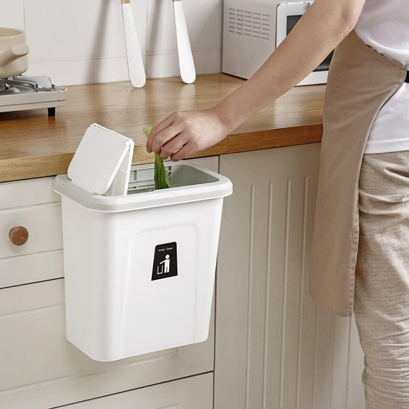 Bestsellrz® Wall Mount Kitchen Dustbin Garbage Can Cabinet - Push-Top Trash Can Waste Bins Marble White Push-Top Trash Can
