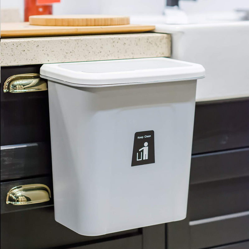 Bestsellrz® Wall Mount Kitchen Dustbin Garbage Can Cabinet - Push-Top Trash Can Waste Bins Smoke Grey Push-Top Trash Can