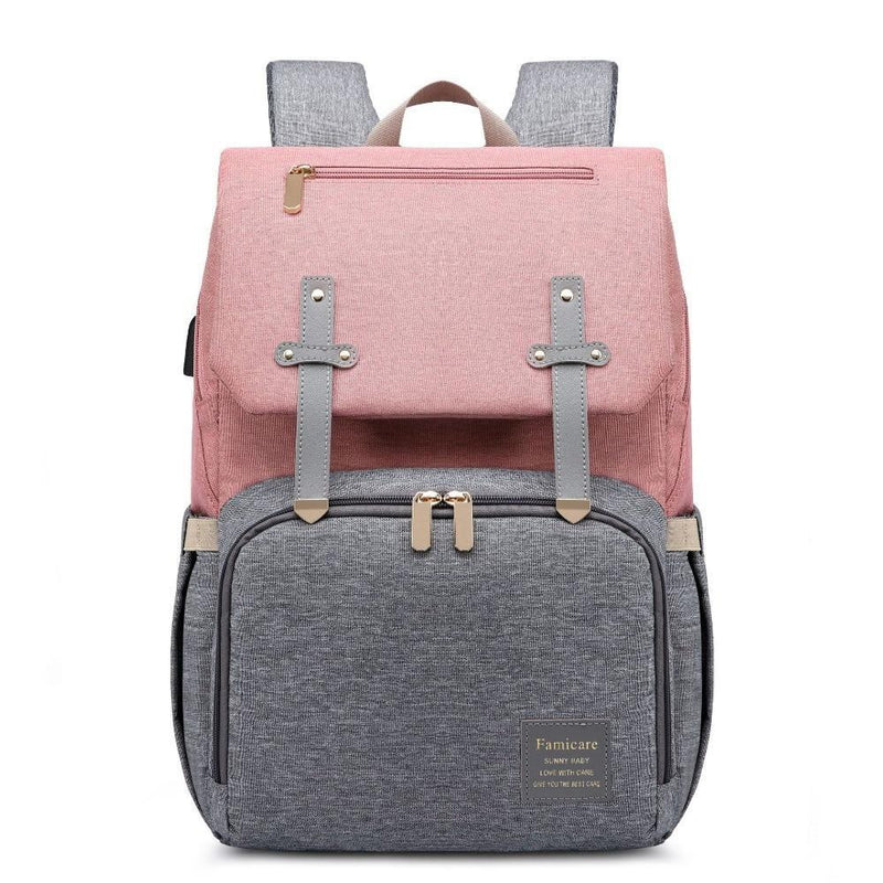 Bestsellrz® Waterproof Diaper Bag Backpack for Moms Baby Nappy Bags USB Port - MimiLove™ Diaper Bags Pink and Grey MimiLove™