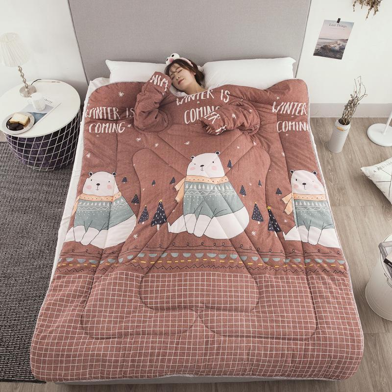 Bestsellrz® Wearable Winter Bed Blanket with Sleeves for Sleeping Reading- Poufit™ Quilt Brown Bear Poufit™