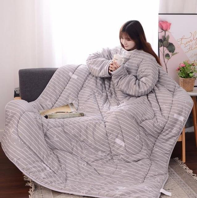Bestsellrz® Wearable Winter Bed Blanket with Sleeves for Sleeping Reading- Poufit™ Quilt Grey with Stripes Poufit™