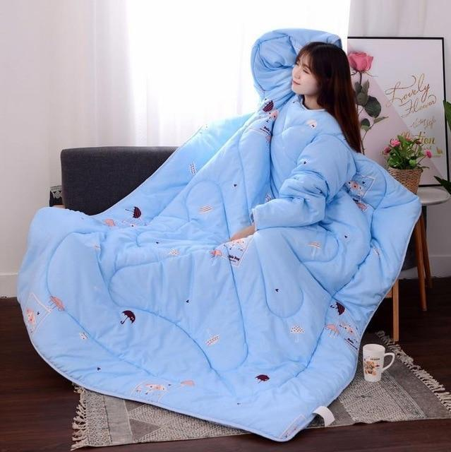 Bestsellrz® Wearable Winter Bed Blanket with Sleeves for Sleeping Reading- Poufit™ Quilt Light Blue with Umbrella Poufit™