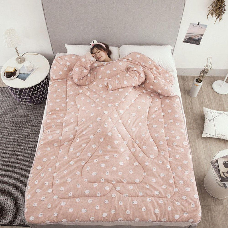 Bestsellrz® Wearable Winter Bed Blanket with Sleeves for Sleeping Reading- Poufit™ Quilt Peach with Polka Poufit™
