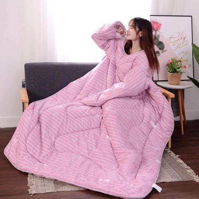 Bestsellrz® Wearable Winter Bed Blanket with Sleeves for Sleeping Reading- Poufit™ Quilt Pink with Stripes Poufit™