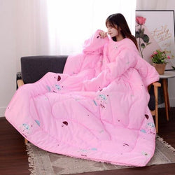 Bestsellrz® Wearable Winter Bed Blanket with Sleeves for Sleeping Reading- Poufit™ Quilt Pink with Umbrella Poufit™