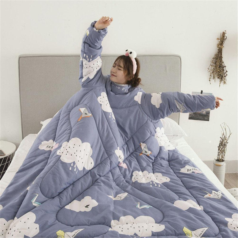 Bestsellrz® Wearable Winter Bed Blanket with Sleeves for Sleeping Reading- Poufit™ Quilt Rainy Clouds Poufit™