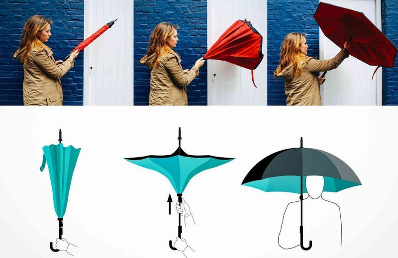 Bestsellrz® Windproof Inverted Reversible Folding Umbrella C Handle - Fliprella™ Reversible Umbrellas Fliprella™