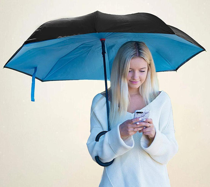 Bestsellrz® Windproof Inverted Reversible Folding Umbrella C Handle - Fliprella™ Reversible Umbrellas Light Blue Fliprella™