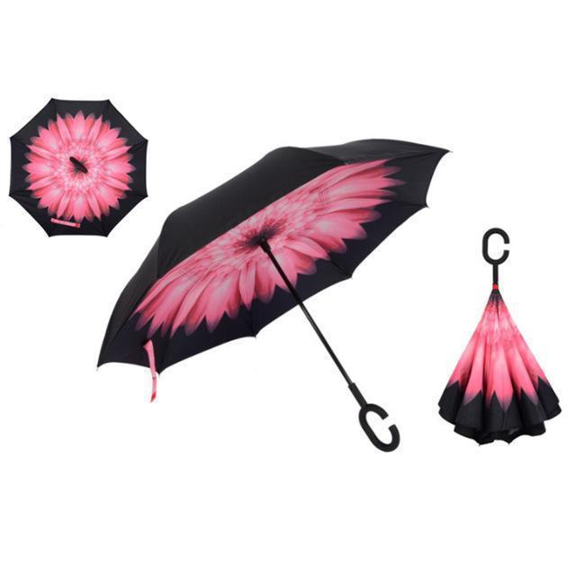Bestsellrz® Windproof Inverted Reversible Folding Umbrella C Handle - Fliprella™ Reversible Umbrellas Pink Daisy Fliprella™