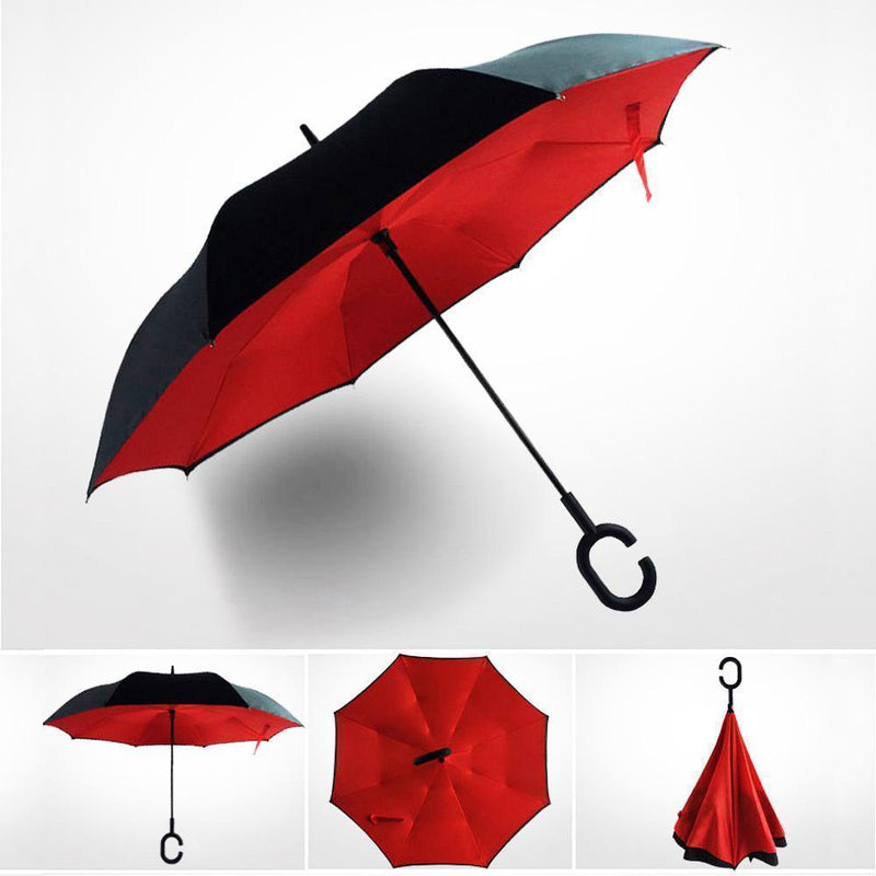 Bestsellrz® Windproof Inverted Reversible Folding Umbrella C Handle - Fliprella™ Reversible Umbrellas Red Fliprella™